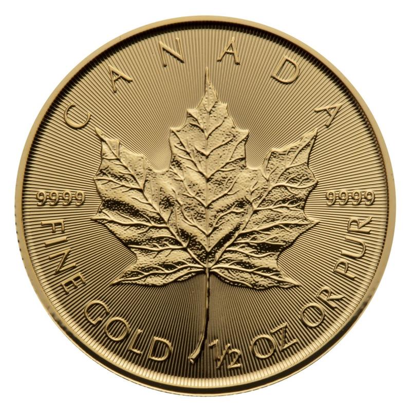 1/2 oz Canadian Maple Leaf Gold Coin .9999 Random Year
