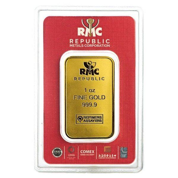 1 oz Republic Metals Corporation Gold Bar .9999