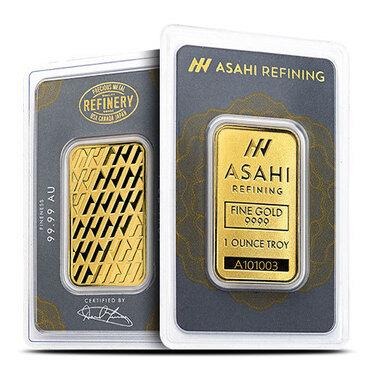 1 OZ Asahi Refining Gold Bar .9999