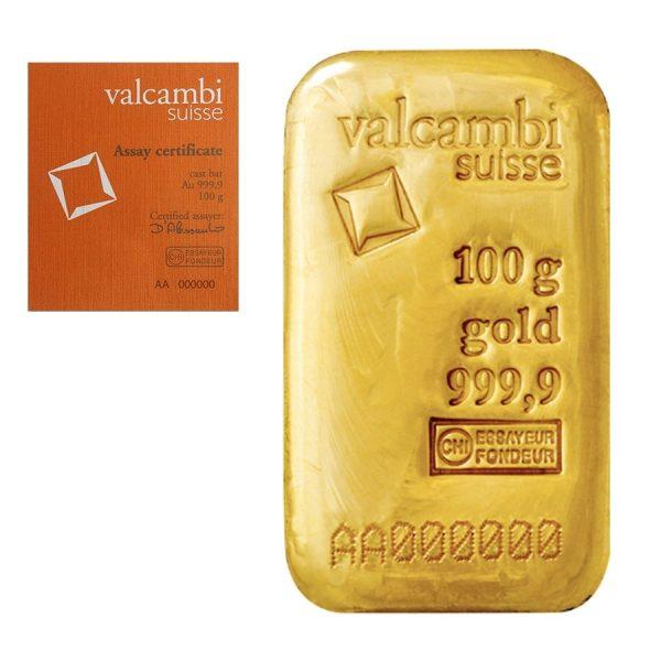 100 gram Valcambi Suisse gold bar .9999