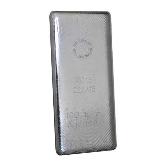 100 oz Silver Royal Canadian Mint Random Year Bar